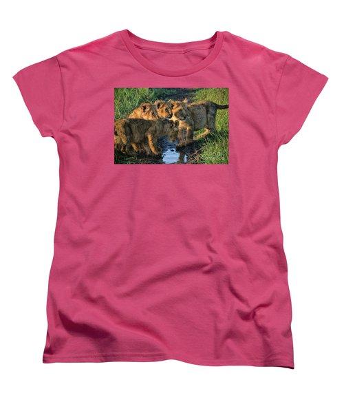 Women's T-Shirt (Standard Cut) featuring the photograph Masai Mara Lion Cubs by Karen Lewis
