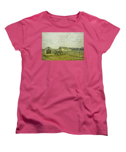 Mcpherson Barn And Cannon Gettysburg  Women's T-Shirt (Standard Cut) by Randy Steele