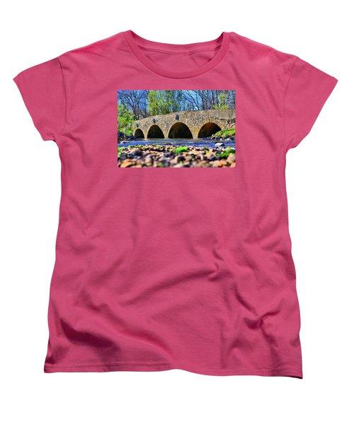 Women's T-Shirt (Standard Cut) featuring the photograph Meadows Road Bridge by DJ Florek