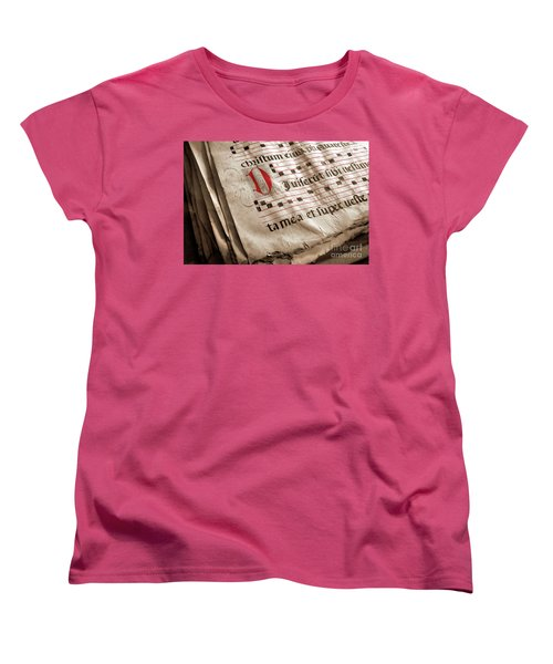 Medieval Choir Book Women's T-Shirt (Standard Cut) by Carlos Caetano