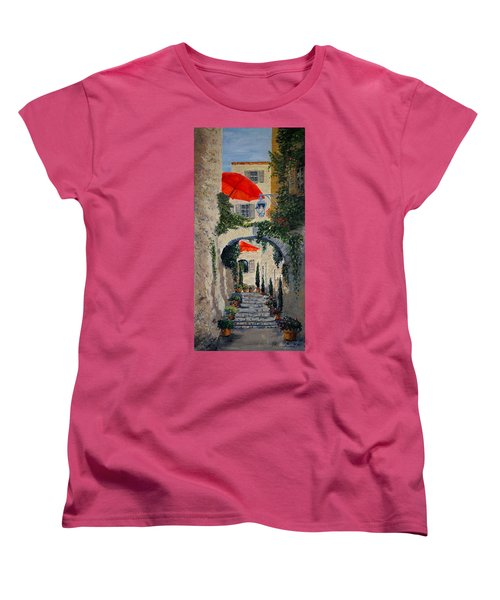 Women's T-Shirt (Standard Cut) featuring the painting Medieval Steps At St Paul De Vence by Marilyn Zalatan