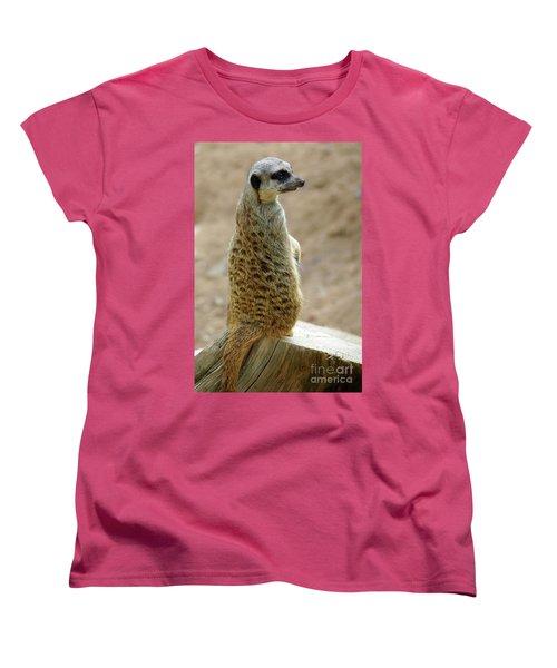 Meerkat Portrait Women's T-Shirt (Standard Cut) by Carlos Caetano