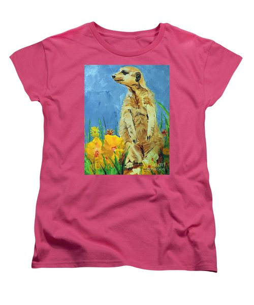 Women's T-Shirt (Standard Cut) featuring the painting Meerly Curious by Tom Riggs