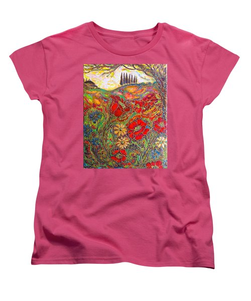 Women's T-Shirt (Standard Cut) featuring the painting Memories Of Tuscany by Rae Chichilnitsky