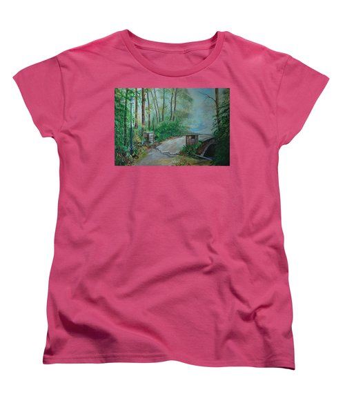 Women's T-Shirt (Standard Cut) featuring the painting Memory Bridge by Leslie Allen