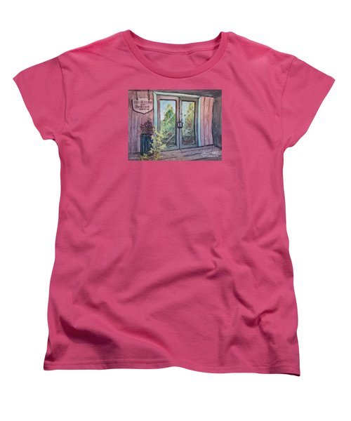 Women's T-Shirt (Standard Cut) featuring the painting Mercier Orchards' Cider by Gretchen Allen