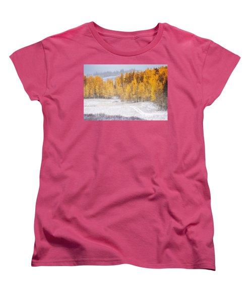Women's T-Shirt (Standard Cut) featuring the photograph Merging Seasons by Kristal Kraft
