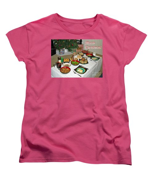 Merry Christmas- Traditional Lithuanian Christmas Eve Dinner Women's T-Shirt (Standard Cut) by Ausra Huntington nee Paulauskaite