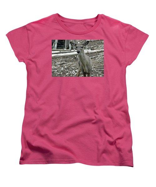 Women's T-Shirt (Standard Cut) featuring the photograph Michigan White Tail Deer by LeeAnn McLaneGoetz McLaneGoetzStudioLLCcom