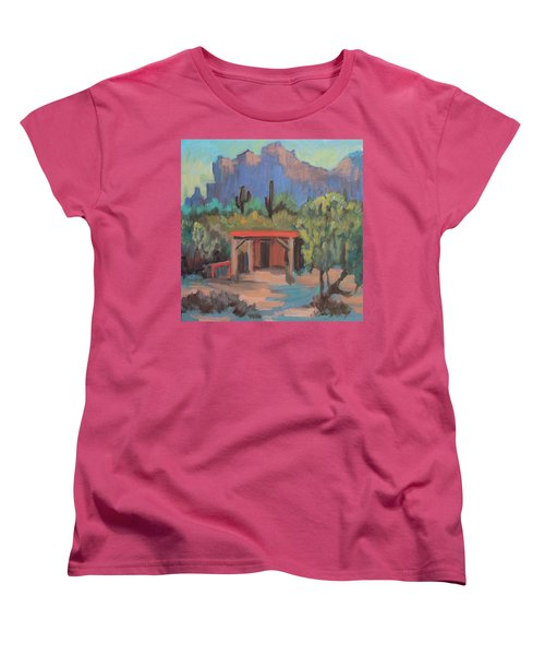 Women's T-Shirt (Standard Cut) featuring the painting Mining Camp At Superstition Mountain Museum by Diane McClary