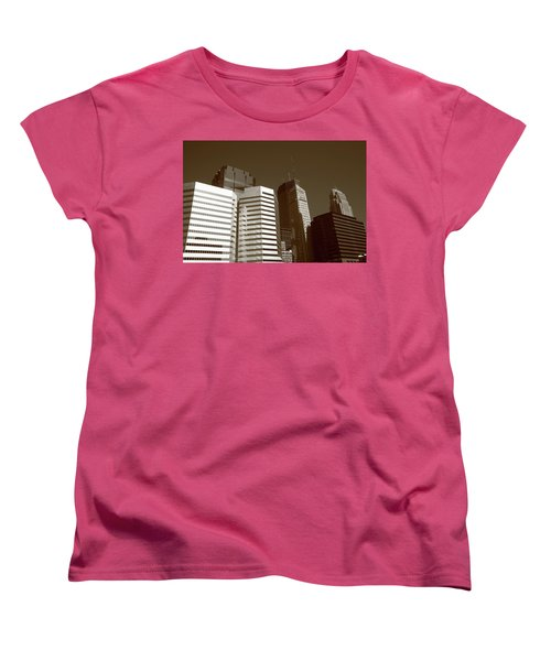 Women's T-Shirt (Standard Cut) featuring the photograph Minneapolis Skyscrapers 5 Sepia by Frank Romeo