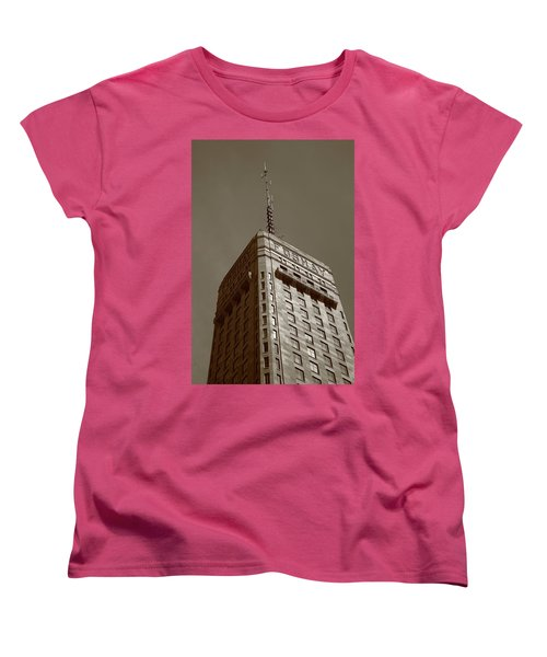 Women's T-Shirt (Standard Cut) featuring the photograph Minneapolis Tower 6 Sepia by Frank Romeo