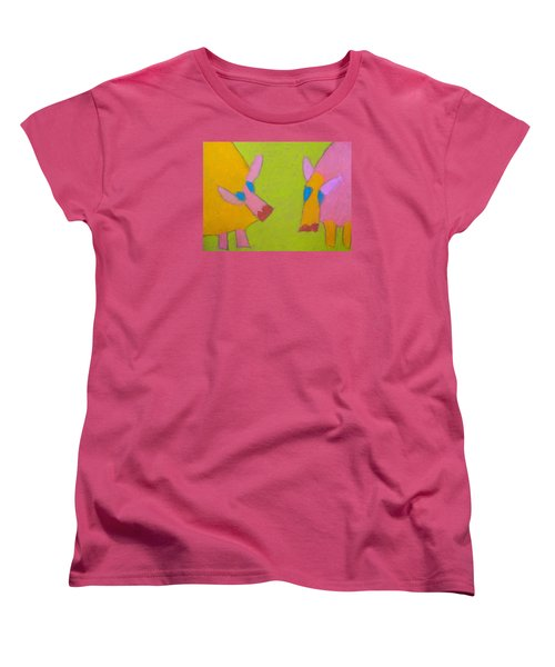 Women's T-Shirt (Standard Cut) featuring the pastel Mischievous Pigs by Artists With Autism Inc