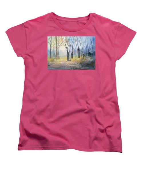 Misty Morning Women's T-Shirt (Standard Cut) by Ryan Radke