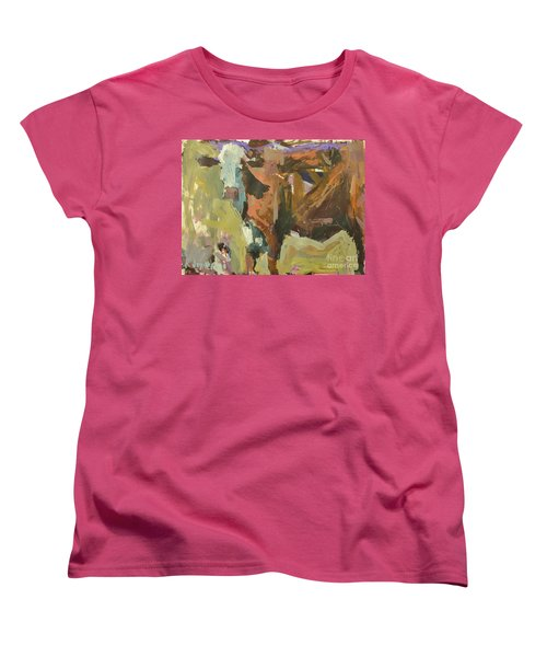 Women's T-Shirt (Standard Cut) featuring the painting Mixed Media Cow Painting by Robert Joyner