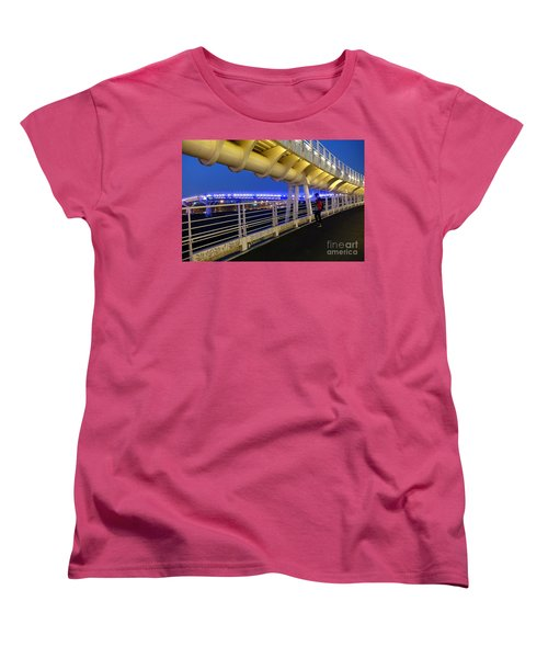 Women's T-Shirt (Standard Cut) featuring the photograph Modern Bicycle Overpass By Night by Yali Shi