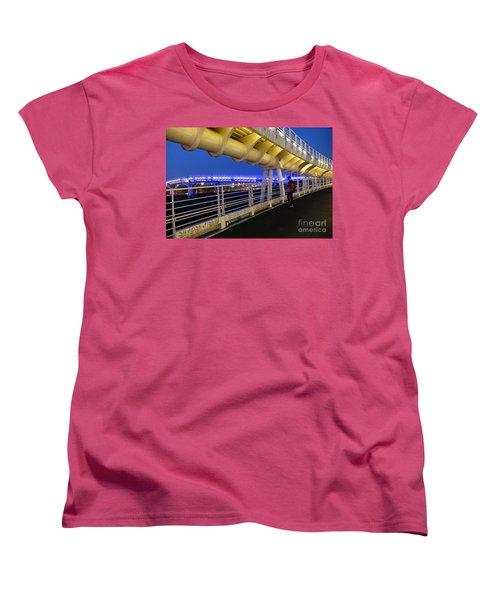 Modern Bicycle Overpass By Night Women's T-Shirt (Standard Cut) by Yali Shi