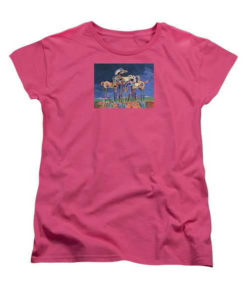 Women's T-Shirt (Standard Cut) featuring the painting Mom And Foals by Bob Coonts
