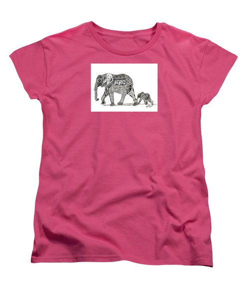 Momma And Baby Elephant Women's T-Shirt (Standard Cut) by Kathy Sheeran