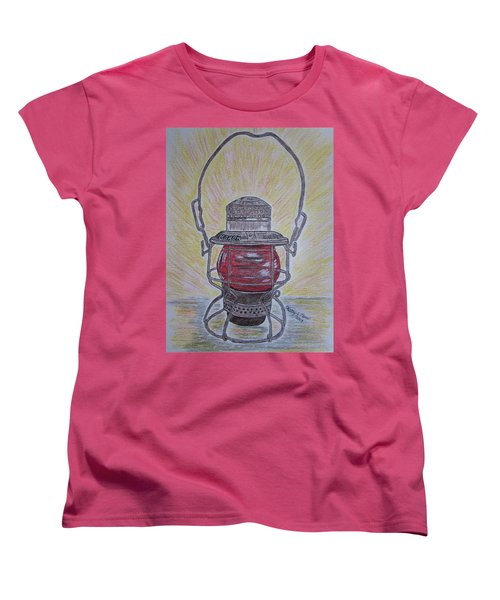 Monon Red Globe Railroad Lantern Women's T-Shirt (Standard Cut) by Kathy Marrs Chandler