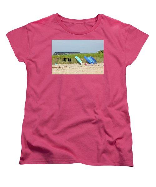 Women's T-Shirt (Standard Cut) featuring the photograph Montauk Beach Stuff by Art Block Collections