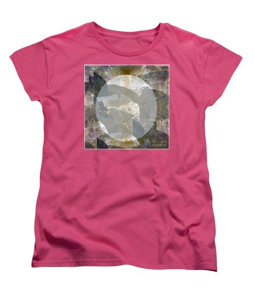 Moon Art On Stone Digital Graphics By Navin Joshi By Print Posters Greeting Cards Pillows Duvet Cove Women's T-Shirt (Standard Cut) by Navin Joshi