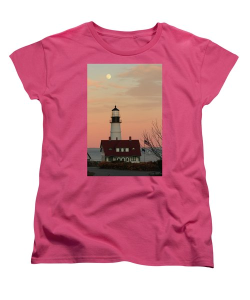 Moon Over Portland Head Lighthouse Women's T-Shirt (Standard Cut) by Lou Ford