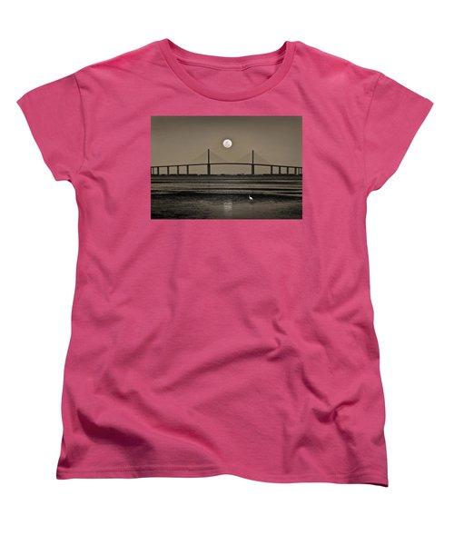 Moonrise Over Skyway Bridge Women's T-Shirt (Standard Cut) by Steven Sparks