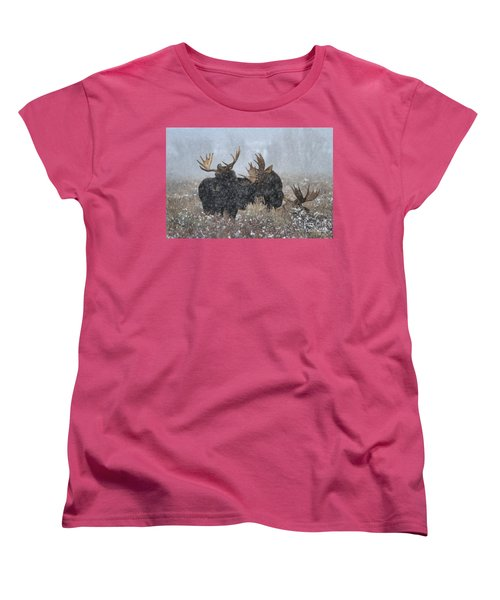 Women's T-Shirt (Standard Cut) featuring the photograph Moose Antlers In The Snow by Adam Jewell