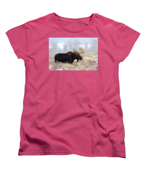 Women's T-Shirt (Standard Cut) featuring the photograph Moose In The Fog Silhouette by Adam Jewell