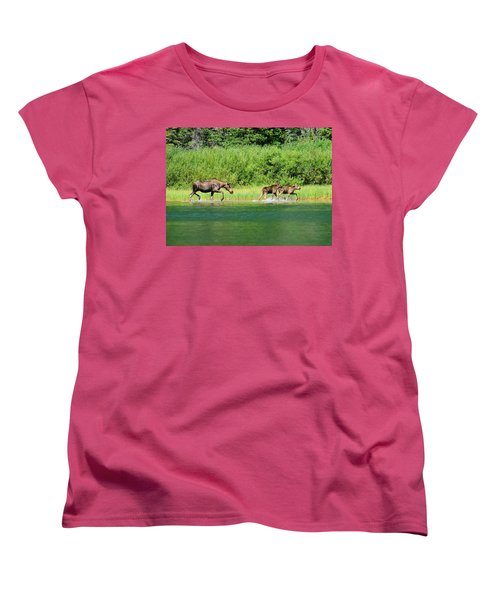 Women's T-Shirt (Standard Cut) featuring the photograph Moose Play by Greg Norrell