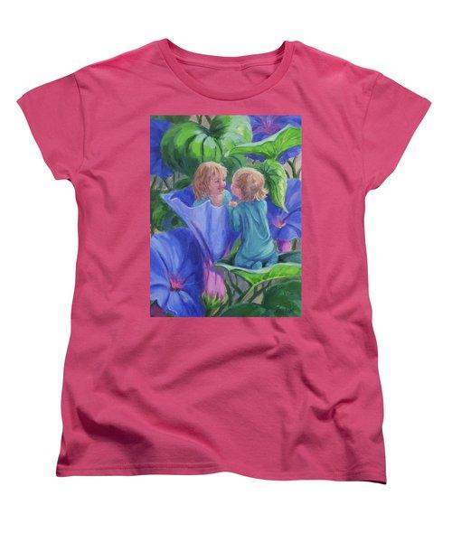 Women's T-Shirt (Standard Cut) featuring the painting Morning Glories by Karen Ilari
