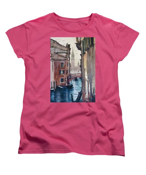 Women's T-Shirt (Standard Cut) featuring the painting Morning In Venice by Geni Gorani