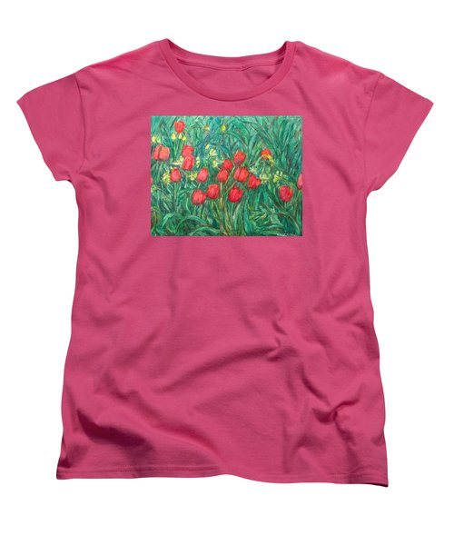 Women's T-Shirt (Standard Cut) featuring the painting Mostly Tulips by Kendall Kessler