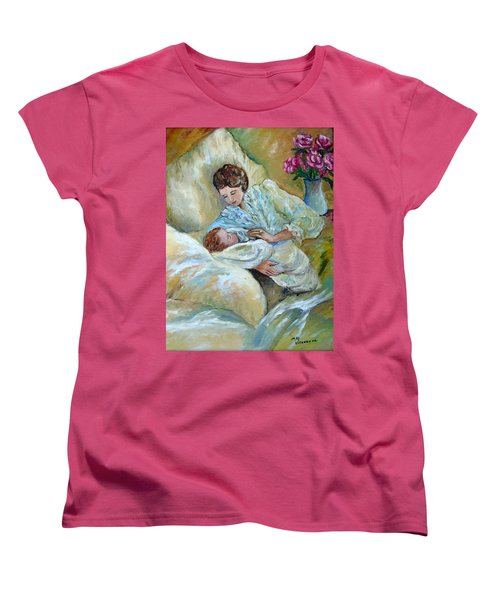 Mother And Child By May Villeneuve Women's T-Shirt (Standard Cut) by Susan Lafleur for May Villeneuve