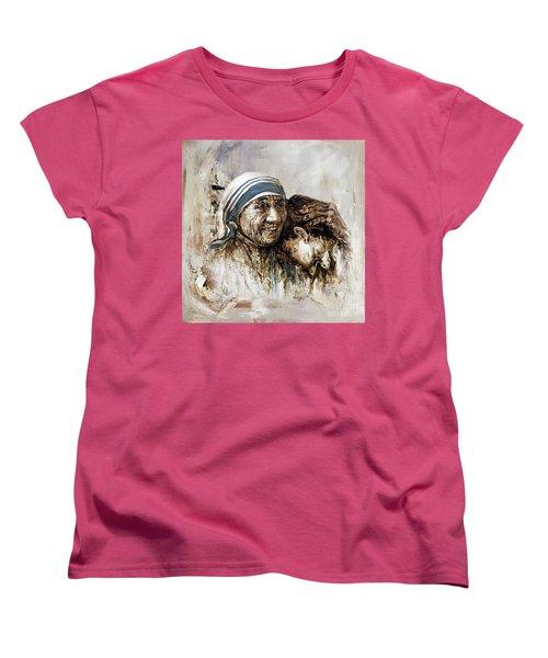 Women's T-Shirt (Standard Cut) featuring the painting Mother Teresa  by Gull G