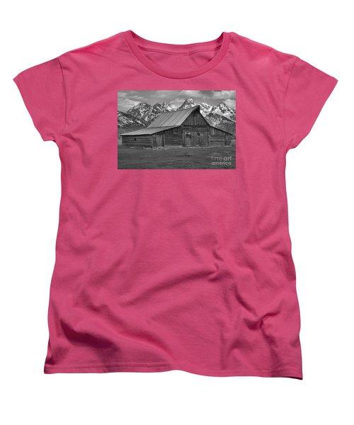 Moulton Barn Springtime Black And White Women's T-Shirt (Standard Cut) by Adam Jewell