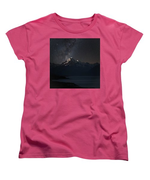 Mount Cook And Lake Pukaki At Night Women's T-Shirt (Standard Cut) by Martin Capek