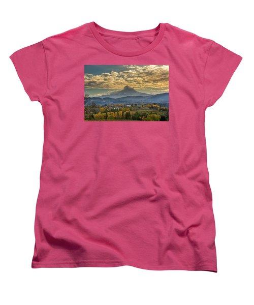 Mount Hood Over Farmland In Hood River In Fall Women's T-Shirt (Standard Fit)