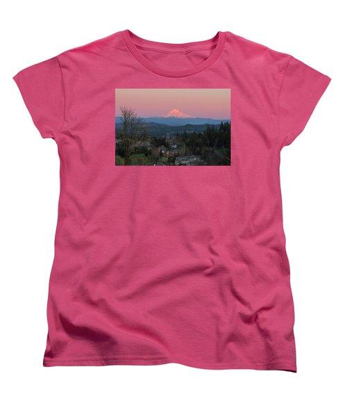 Mount Hood Over Happy Valley Oregon Women's T-Shirt (Standard Fit)