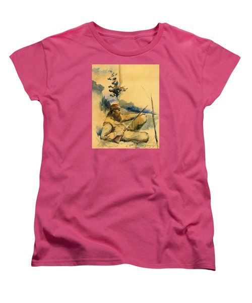 Women's T-Shirt (Standard Cut) featuring the drawing Mountain Man by Charles Schreyvogel