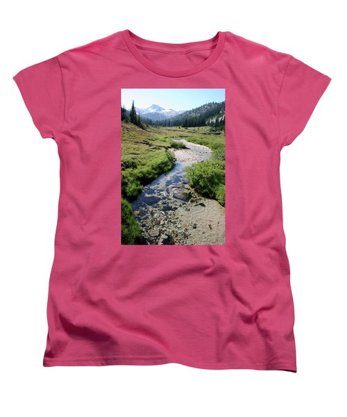 Mountain Meadow And Stream Women's T-Shirt (Standard Cut) by Quin Sweetman