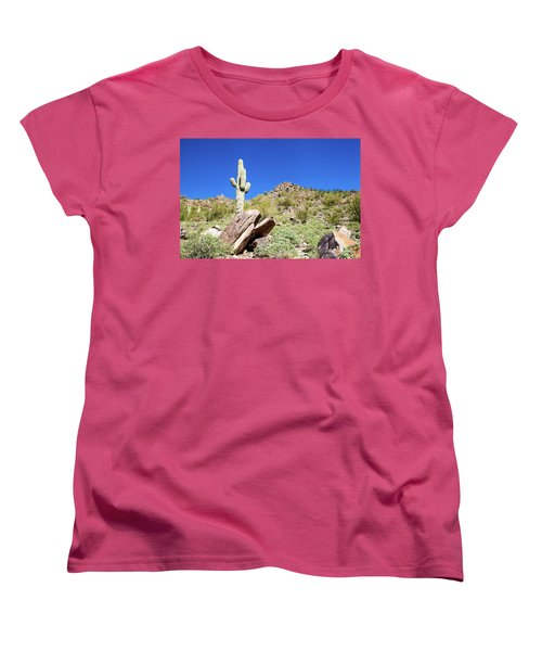 Women's T-Shirt (Standard Cut) featuring the photograph Mountainside Cactus 2 by Ed Cilley