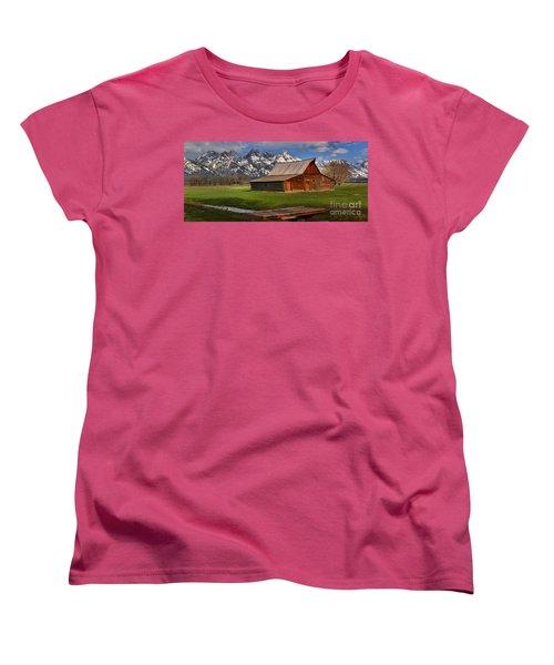 Mouoton Barn Footbridge Panorama Women's T-Shirt (Standard Cut) by Adam Jewell