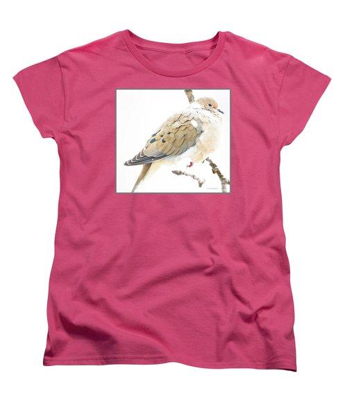 Mourning Dove, Snowy Morning Women's T-Shirt (Standard Cut) by A Gurmankin