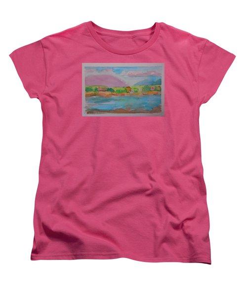Women's T-Shirt (Standard Cut) featuring the painting Mt Desert From Marlboro Beach by Francine Frank