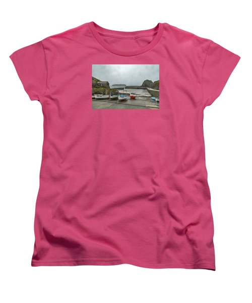 Women's T-Shirt (Standard Cut) featuring the photograph Mullion Cove Harbour by Brian Roscorla