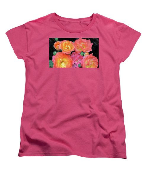 Women's T-Shirt (Standard Cut) featuring the photograph Multi-color Roses by Jerry Battle