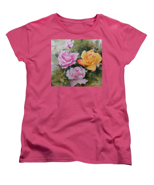 Women's T-Shirt (Standard Cut) featuring the painting Mum's Roses by Sandra Phryce-Jones
