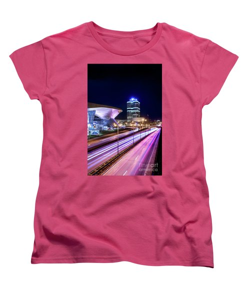 Women's T-Shirt (Standard Cut) featuring the pyrography Munich - Bmw City At Night by Hannes Cmarits